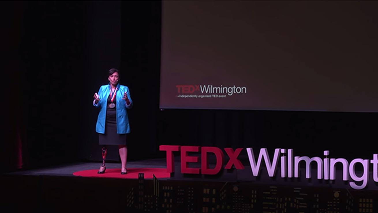 Bonnie St John speaking at TedxWilmington