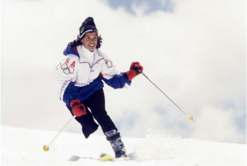 Bonnie St. John skiing in the Winter Olympics